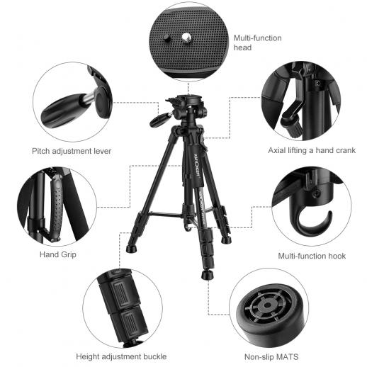 TM2324L Trípode compacto portátil negro de 56 pulgadas para cámara de video Celular de 3 vías Cabeza giratoria de inclinación de la bandeja