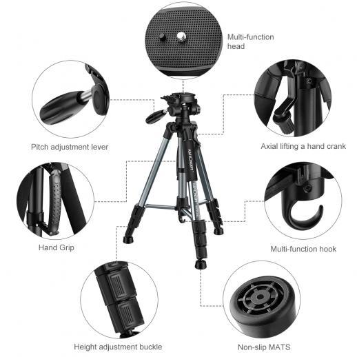 TM2324L Trípode compacto portátil gris de 56 pulgadas para cámara de video Celular de 3 vías Cabeza giratoria de inclinación de la bandeja