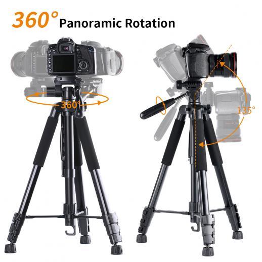 TM2624L Trípode compacto portátil de 70 pulgadas, negro, para cámara de video Celular, giratorio giratorio de 3 vías Cabeza de inclinación
