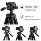 TM2624L Gris Trípode compacto portátil de 70 pulgadas para cámara de video Celular 3-Way Giratorio Pan Tilt Head